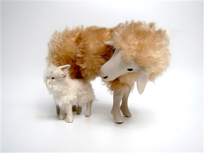 Colin's Creatures Primitive sheep decor, Italian Garfagnina Ewe Bending Nose to Nose with Lamb