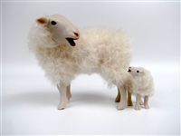 Colin's Creatures Handmade Easter Sheep, Kempen Heath Baaing Ewe and Lamb