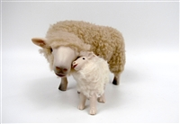 Handmade Colin's Creatures Sheep Figurines, Romney Ewe Cheek to Cheek with Lamb