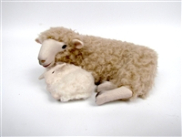Handmade Colin's Creatures Mother's Day  Sheep Figures, Romney Ewe Snuggling Newborn