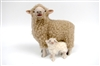 Colin's Creatures Handmade Sheep Figures, Mother's Day, Romney Ewe with Droopy Ear Lamb