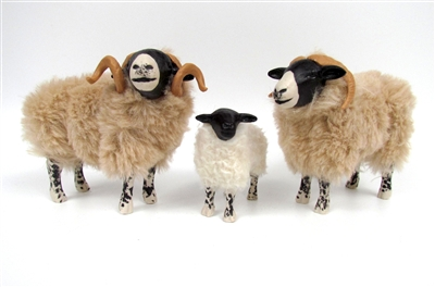 Colin's Creatures Handmade Yorkshire Dales Sheep Figurines, Swaledale Sheep Family