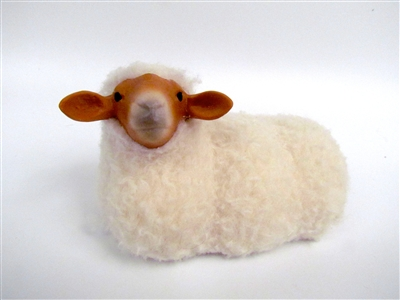 Handmade Sheep Figurines by Colin's Creatures, Tunis Sheep Lying