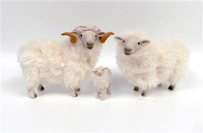 Colin's Creatures Handmade Welsh Christmas Sheep Figures, Welsh Mountain Family