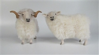 Colin's Creatures Handmade Welsh Christmas Sheep Figurines, Welsh Mountain Ewe and Ram with Pembroke Corgi