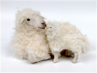 Colin's Creatures,  Slovenian Bovska Ewe and Lamb Lying Nose to Nose, Pottery Sheep