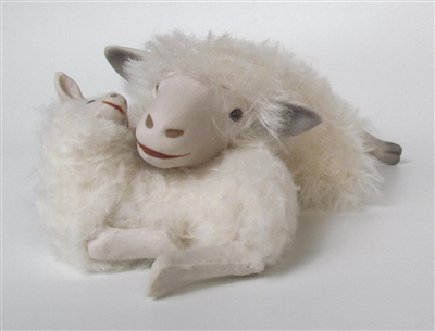 Colin's Creatures Handmade Sheep Figurines, Cotswold Lying Ewe with Lamb Pillow