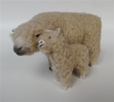 Colin's Creatures Handmade Life Life Sheep Figurines, Southdown Ewe Standing Cheek to Cheek  with Small Lamb
