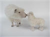 Colin's Creatures sheep Sculpture,  Cotswold Ewe Bending Down,  Nose to Nose with Medium Lamb