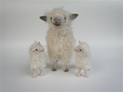 Colin's Creatures Black sheep, Cotswold Ewe with White Lamb and Black Lamb