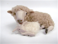 Colin's Creatures Primitive sheep decor, Dorset Ewe with Sleeping Newborn