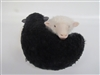 Colin's Creatures Handmade Galway Black and White Ying and Yang Sheep Twins, Porcelain and Wool