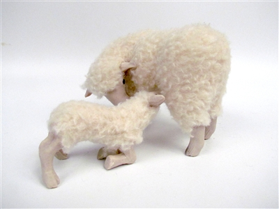 Colin's Creatures Handmade Galway Sheep, Ewe with Kneeling Nursing Lamb, Porcelain and Wool