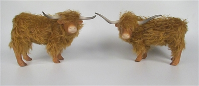 Highland Cattle Figures Turned, Porcelain, Mohair, Cast Stone