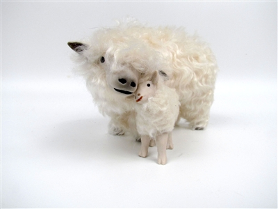 Colin's Creatures Sheep Figurines, Lincoln Longwool Ewe and Lamb Snuggling