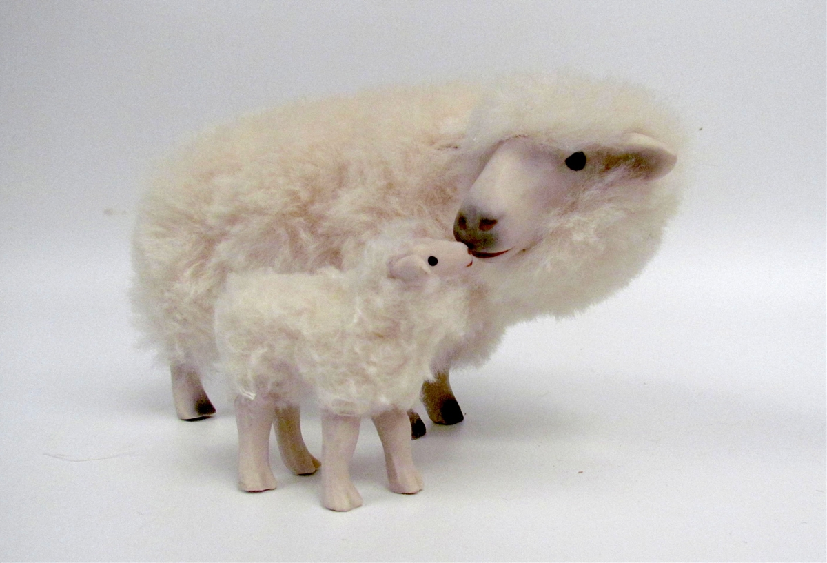 Rya ewe nose to nose with lamb long handmade sheep figures by colins creatures rya ewe nose to nose with lamb long sciox Images