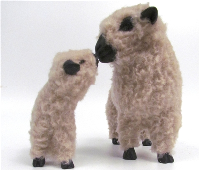 Colin's Creatures Handcrafted Mother's Day Sheep of Color, Shropshire Ewe Kissing Lamb