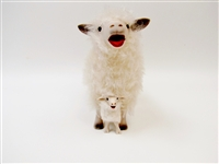 Colin's Creatures Sheep Pottery, Cotswold Baaing Ewe Straddling Baaing Lamb