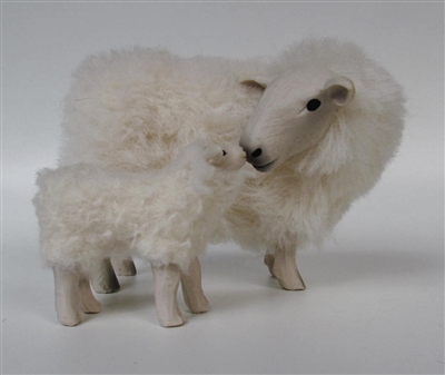 Colin's Creatures Welsh Mother's Day Sheep and Lamb Figurines, Welsh Mountain Ewe Nose to Nose with Her Lamb