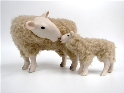 Border Leicester Ewe and Lamb, primitive  sheep sculpture