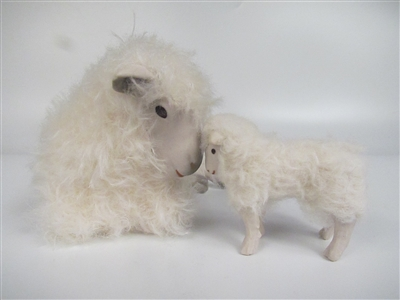 Colin's Creatures Sheep Figurines, Cotswold Ewe Lying Deep in Thought with Standing Lamb