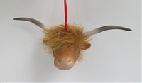 Highland Cattle Ornament in Porcelain and Mohair