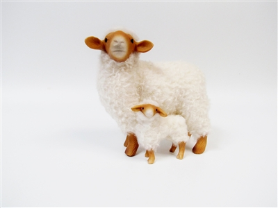 Colin's Creatures Mother's Day American Sheep Figurines, Tunis Ewe With Turned Lamb