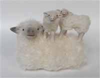 Colin's Creatures Primitive Sheep Decor, Cotswold Lying Ewe with Twins on Her Back