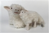 Colin's Creatures Handmade Animal Figurines,Galway Ewe Lying Cheek to Cheek with Standing Lamb