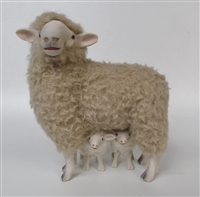 Handmade Sheep Figurines by Colin's Creatures, Romney Ewe over Curious Twins