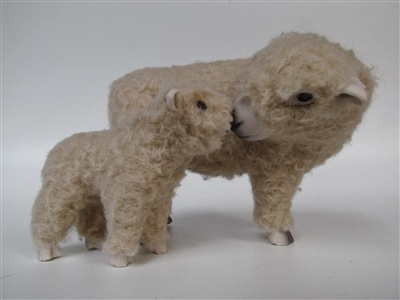 Colin's Creatures Ceramic Sheep Figurines, Southdown Ewe Standing Nose to Nose with Small Lamb