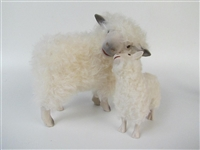 Colin's Creatures sheep Sculpture, Cotswold Ewe Cheek to Cheek with Lamb Looking Up