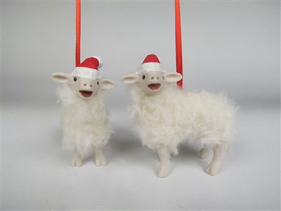 Baaing Elf Lamb Ornament With Small Hat