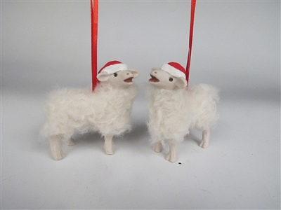 Baaing Elf Lamb Ornament With Large Droopy Hat