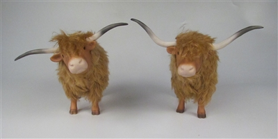 Highland Cattle Straight in Porcelain, Mohair and Stone