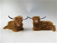 Highland Cattle Laying: Porcelain, Mohair and Stone