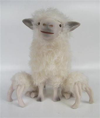 Colin's Creatures Porcelain and Wool Sheep figure, Cotswold Ewe Nursing Twins