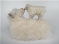 Colin's Creatures Handmade porcelain sheep figurines, Cotswold Ewe Nose to NoseLamb