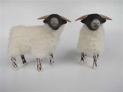 Colin's Creatures Handcrafted Sheep Figurines, Scottish Blackface Ewe and Lamb 2