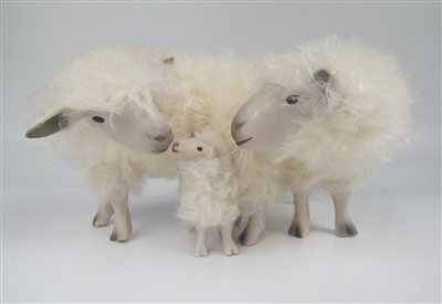 Colin's Creatures Handmade Porcelain Sheep Figures, Cotswold Family Snuggling