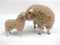 Colin's Creatures Handmade Porcelain Sheep Figurines, Romney Ewe and Lamb in Deep Thought