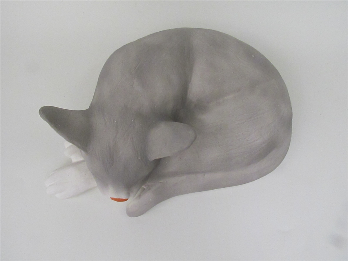Grey Abyssinian Cat-Shaped Cremation Urn for Ashes