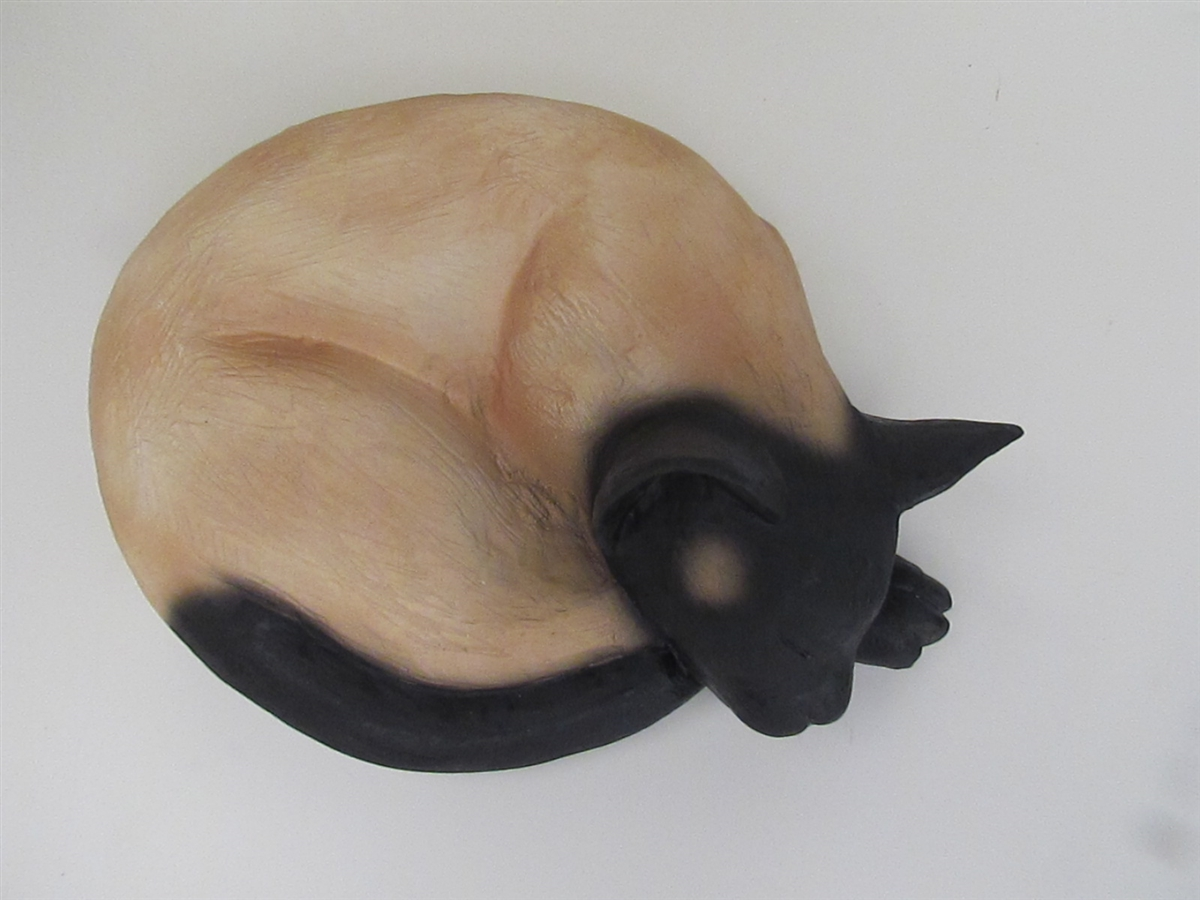 Dark Siamese Cat-Shaped Cremation Urn for Ashes