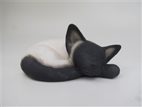 Colin's Creatures Handmade porcelain sheep figurines, Cat Cremation Urn
