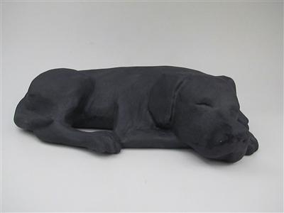 Sleeping Black Labrador Stoneware Pet Cremation Urn