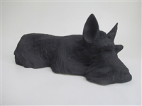 Colin's Creatures Handmade Stoneware Black Scottish Terrier Cremation Urn