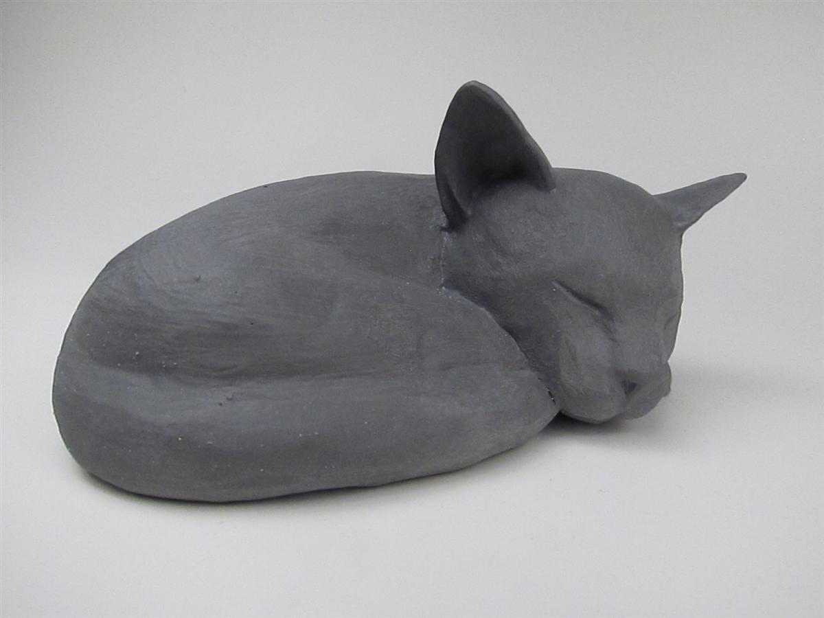 Sleeping Gray Cat Stoneware Cremation Urn