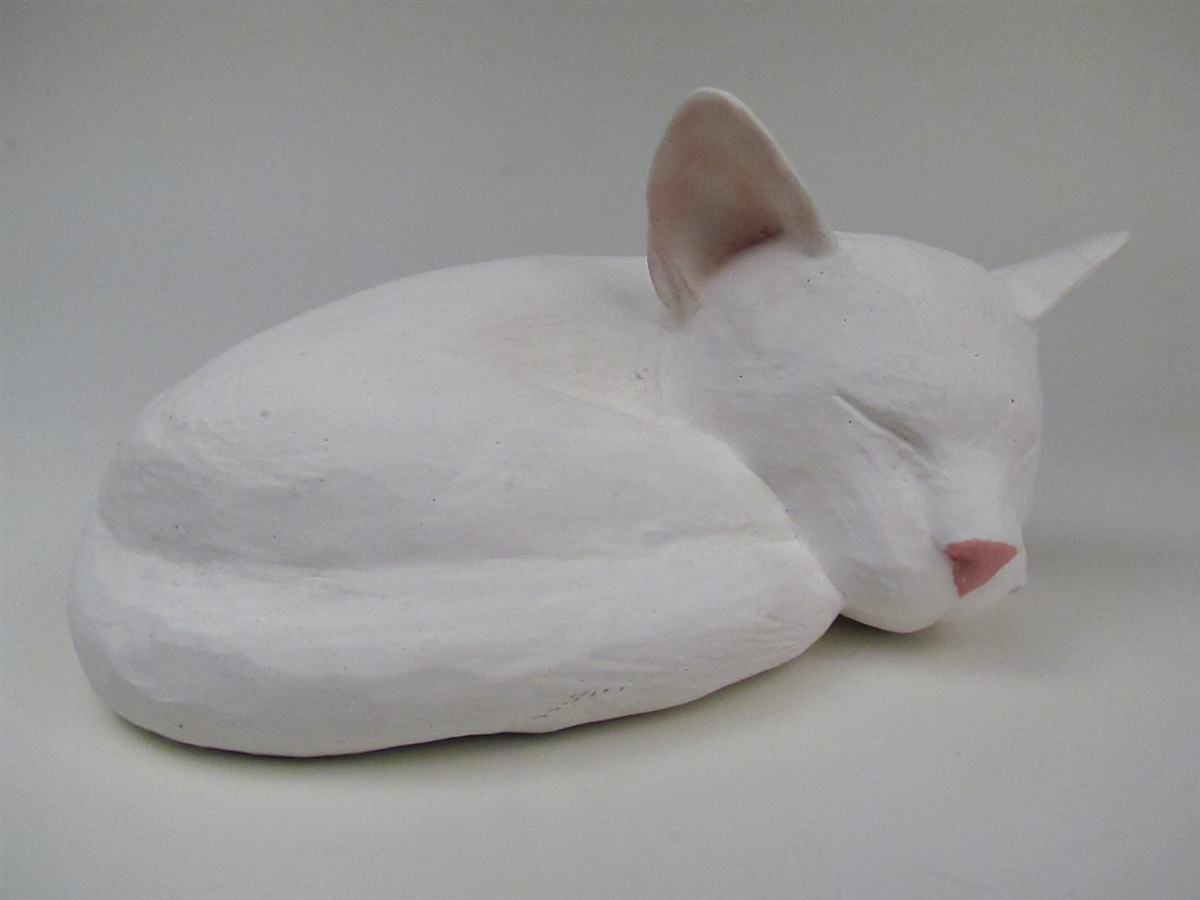 Custom-Made Sleeping White Cat Cremation Urn for Ashes