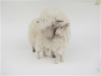 Colin's Creatures Sheep Figurines, Cotswold Ewe Holding Lamb Close