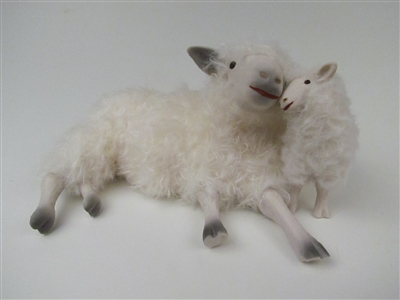 Colin's Creatures Sheep Figurines, Cotswold Mommy Lying Cheek to Cheek Medium Lamb